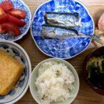 秋刀魚の塩焼きといつもの厚揚げとキャロットラペ